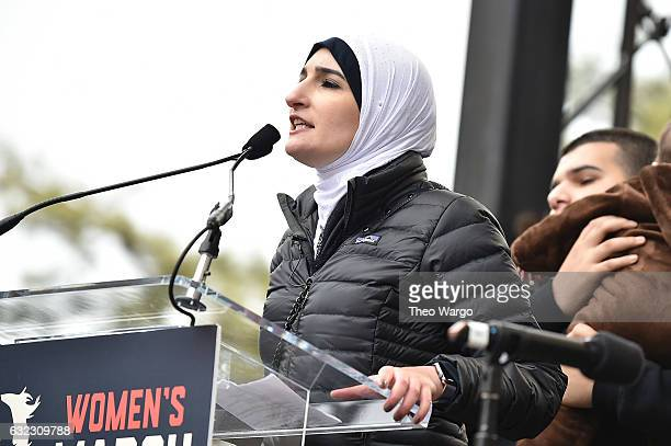 Linda Sarsour speaks onstage during the Women's March on Washington on January 21 2017 in Washington DC