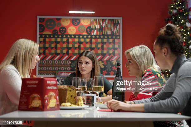 Linda Sembrant, Cecilia Salvai, Martina Rosucci and Andrea Staskova during Juventus Christams Filming Backstage at JTC on November 28, 2019 in Turin,...