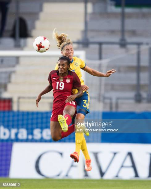 Linda Sembrant of Sweden and Crystal Dunn of USA competes for the ball during the international friendly between Sweden and USA at Ullevi Stadium on...