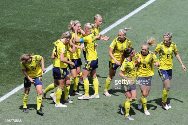 Linda Sembrant of Sweden celebrates with teammates after scoring her team's first goal during the 2019 FIFA Women's World Cup France group F match...