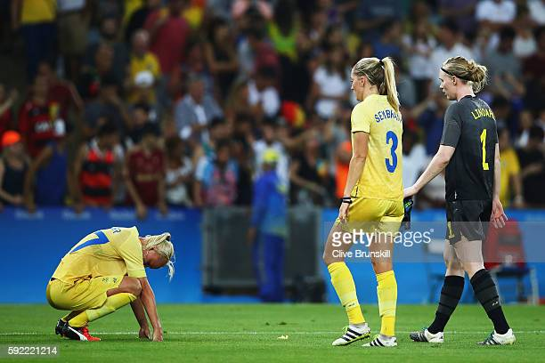 Linda Sembrant of Sweden reacts at the end of the Women's Olympic Gold Medal match between Sweden and Germany at Maracana Stadium on August 19 2016...