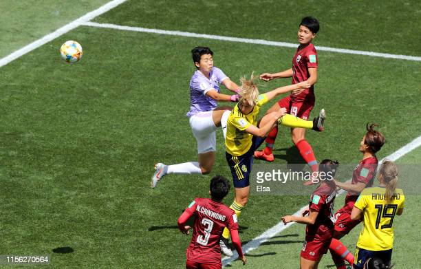 Linda Sembrant of Sweden scores her team's first goal during the 2019 FIFA Women's World Cup France group F match between Sweden and Thailand at...