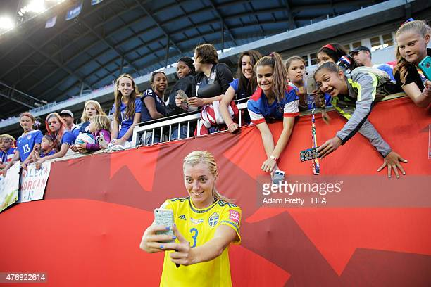 Linda Sembrant of Sweden takes some piuctures with fans after the Group D match between United States of America and Sweden of the FIFA Women's World...