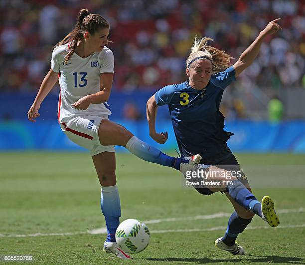 Linda Sembrant of Sweden the shot of Alex Morgan of the United States during the Women's Quarter Final match between United States and Sweden on Day...