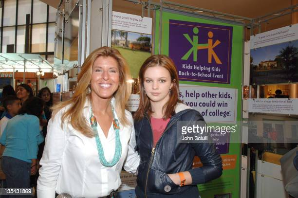 Linda Solomon celebrity photographer and Amber Tamblyn unveil the 'Kids Helping Kids Go Back to School' photography display at the Beverly Center The...