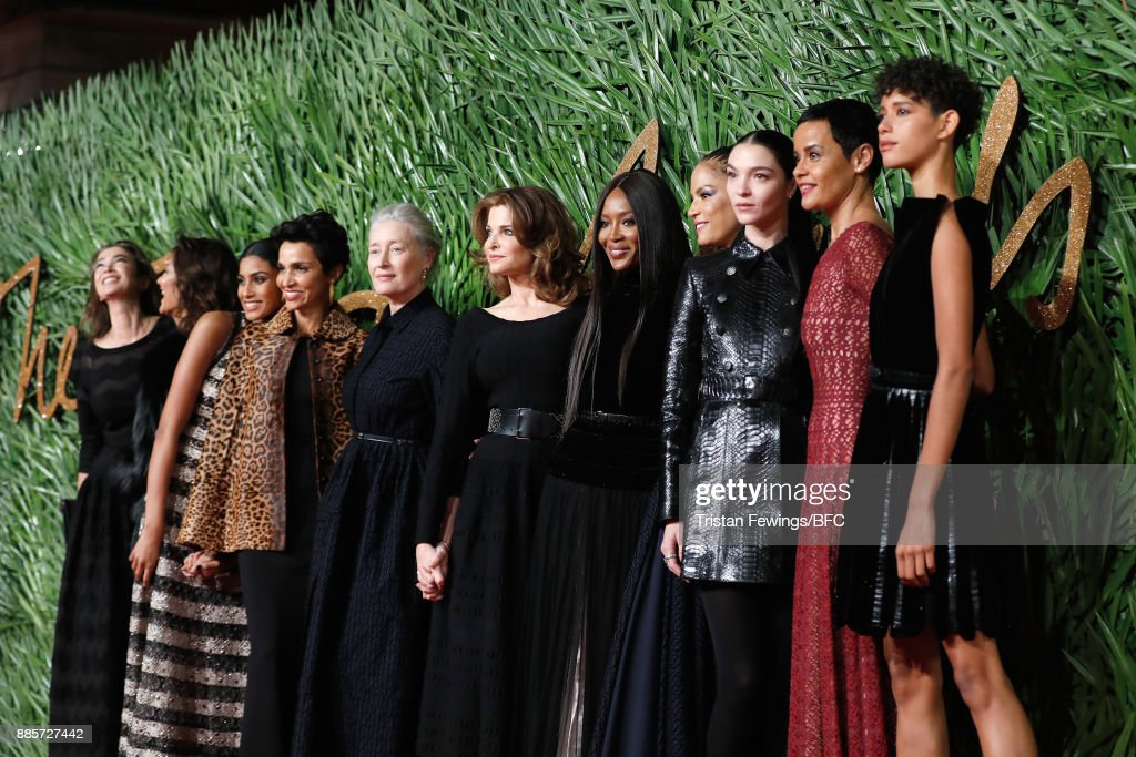 Linda Spierings, Marpessa Hennink, guest, Farida Khelfa, Marie Sophie Wilson, Stephanie Seymour, Naomi Campbell, Veronica Webb, Mariacarla Boscono, Nadege Dubospertus and Imaan Hammam attend The Fashion Awards 2017 in partnership with Swarovski at Royal Albert Hall on December 4, 2017 in London, England.