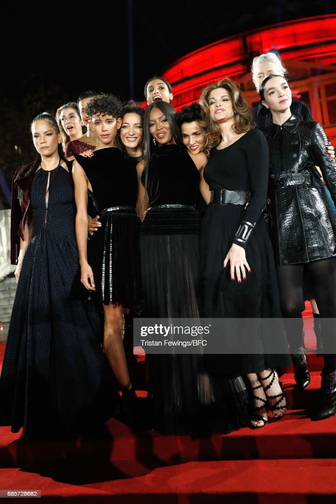Linda Spierings, Veronica Webb, Nadege du Bospertus, Dilone, Imaan Hammam,(back) Marpessa Hennink, Naomi Campbell, Farida Khelfa, Stephanie Seymour, Marie Sophie Wilson and Mariacarla Boscono attend The Fashion Awards 2017 in partnership with Swarovski at Royal Albert Hall on December 4, 2017 in London, England.
