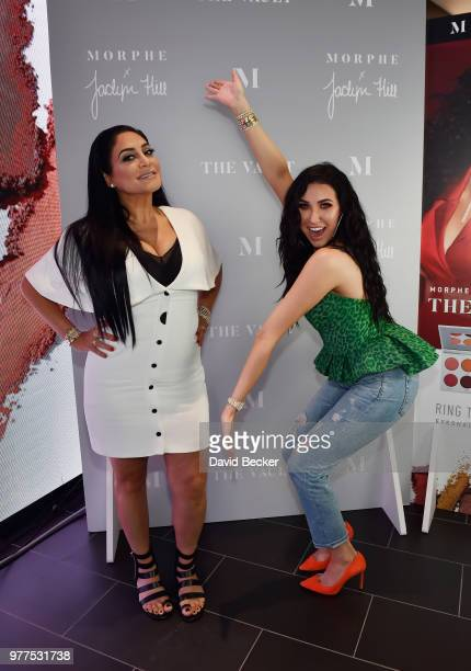 Linda Tawil and Jaclyn Hill attend the Morphe store opening at the Miracle Mile Shops at Planet Hollywood Resort Casino on June 16 2018 in Las Vegas...
