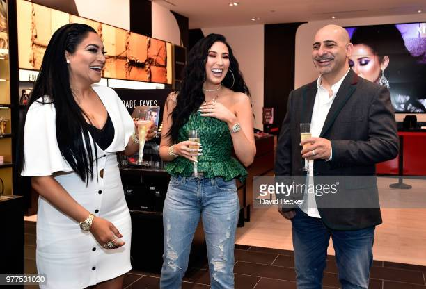 Linda Tawil Jaclyn Hill and Chris Tawil attend the Morphe store opening at the Miracle Mile Shops at Planet Hollywood Resort Casino on June 16 2018...