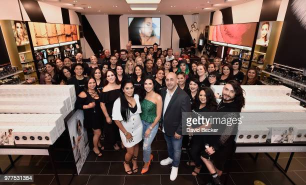 Linda Tawil Jaclyn Hill and Chris Tawil pose with Morphe team members at the Morphe store opening at the Miracle Mile Shops at Planet Hollywood...