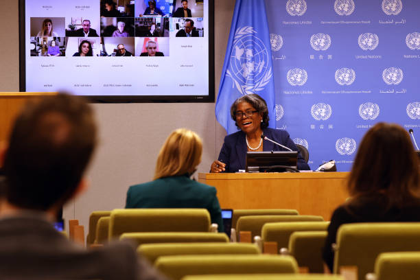 NY: New Ambassador To The UN Linda Thomas-Greenfield Speaks To The Media