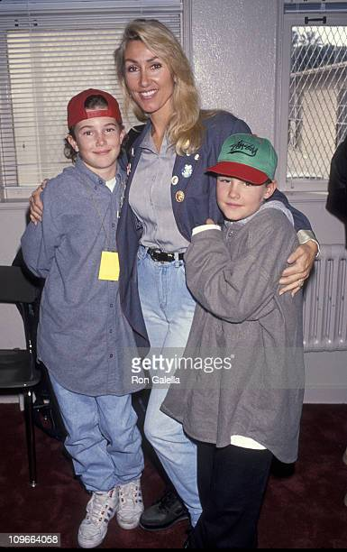Linda Thompson and her sons during National 'Grammy in the Schools' Day February 19 1993 at Hollywood High School in Hollywood California United...