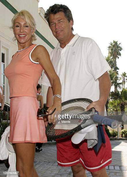 Linda Thompson David Foster during 2nd Annual Childhelp Tennis Classic at Beverly Hills Country Club in Los Angeles California United States