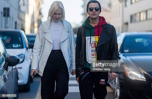 Linda Tol and Alessandro Enriquez seen at Diesel during Milan Men's Fashion Week Fall/Winter 2017/18 on January 14 2017 in Milan Italy