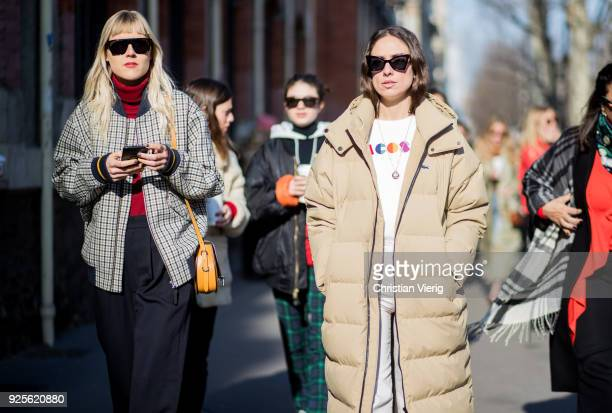 Linda Tol and Erika Boldrin is seen outside Lacoste on February 28 2018 in Paris France