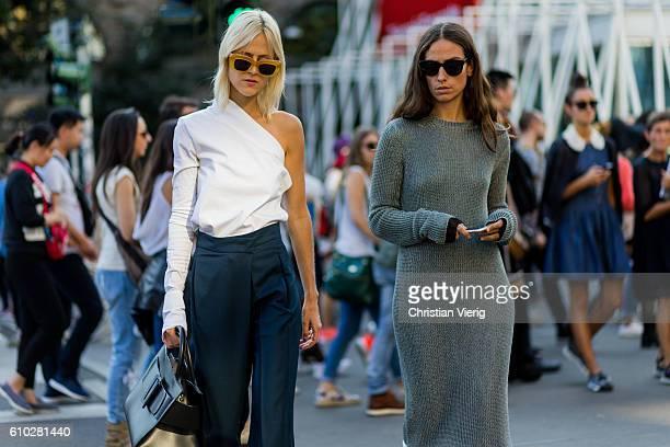 Linda Tol and Erika Boldrin outside Jil Sander during Milan Fashion Week Spring/Summer 2017 on September 24 2016 in Milan Italy