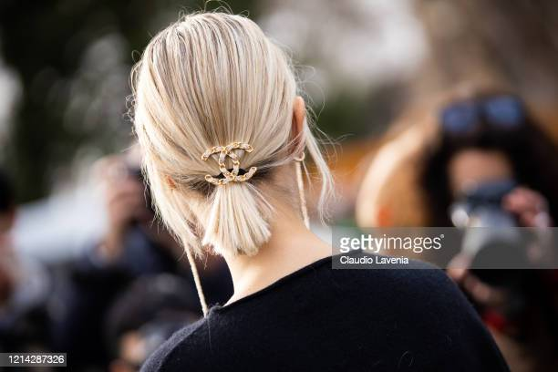 Linda Tol, Chanel hair clip detail, is seen outside Chanel, during Paris Fashion Week - Womenswear Fall/Winter 2020/2021 : Day Nine on March 03, 2020...
