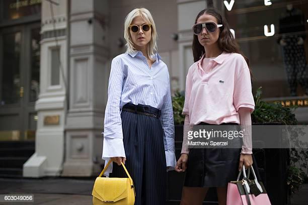 Linda Tol Erika Boldrin are seen attending Rebecca Minkoff during New York Fashion Week on September 9 2016 in New York City