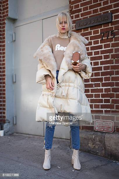 Linda Tol is seen at Jill Stuart wearing Fendi coat Aspinal bag Lacoste sweater and Zara shoes during New York Fashion Week Women's Fall/Winter 2016...