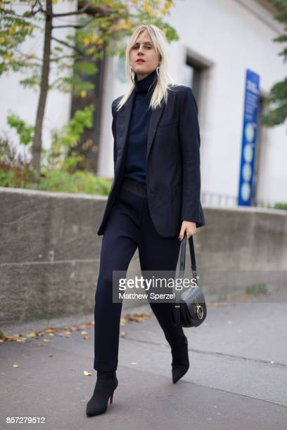 Linda Tol is seen attending Junko Shimada during Paris Fashion Week wearing Nina Ricci on October 3 2017 in Paris France