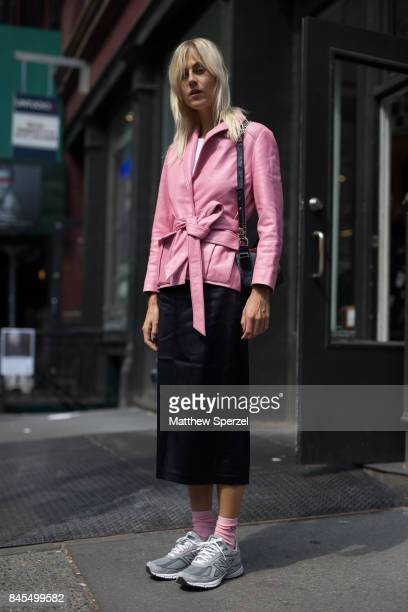 Linda Tol is seen attending Mansur Gavriel during New York Fashion Week wearing Chanel New Balance Ganni on September 10 2017 in New York City