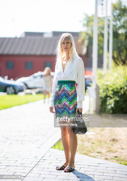 Linda Tol is seen outside By Malene Birger during the Copenhagen Fashion Week Spring/Summer 2019 on August 9 2018 in Copenhagen Denmark