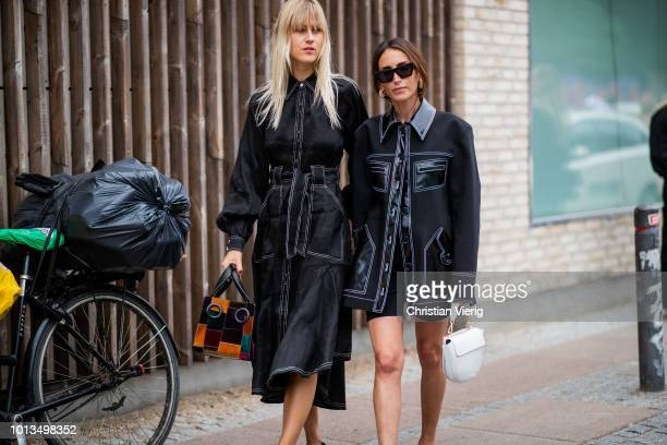 Linda Tol is seen outside Stine Goya during the Copenhagen Fashion Week Spring/Summer 2019 on August 8, 2018 in Copenhagen, Denmark.