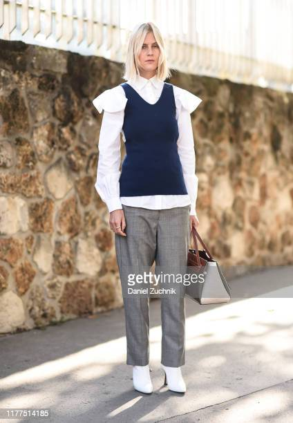 Linda Tol is seen outside the Loewe show during Paris Fashion Week SS20 on September 27, 2019 in Paris, France.