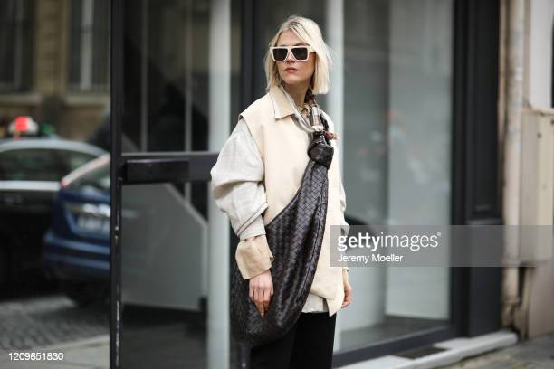 Linda Tol is seen wearing a Bottega Veneta leather bag outside Altuzarra show during Paris Fashion week Womenswear Fall/Winter 2020/2021 Day Six on...