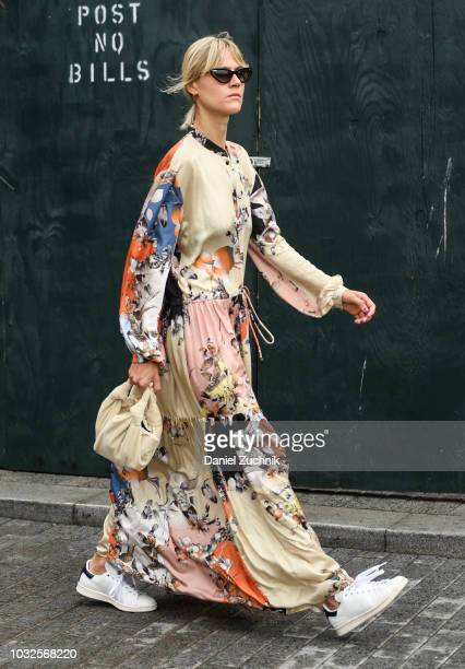 Linda Tol is seen wearing a floral dress outside the Michael Kors show during New York Fashion Week Women's S/S 2019 on September 12 2018 in New York...