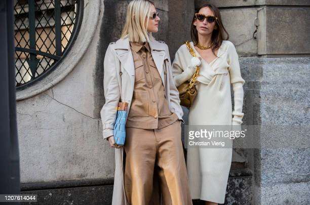 Linda Tol is seen wearing trench brown button shirt, shorts and Chloe Harrouche is seen wearing dress, brown bag, golden necklace, Bottega heels...