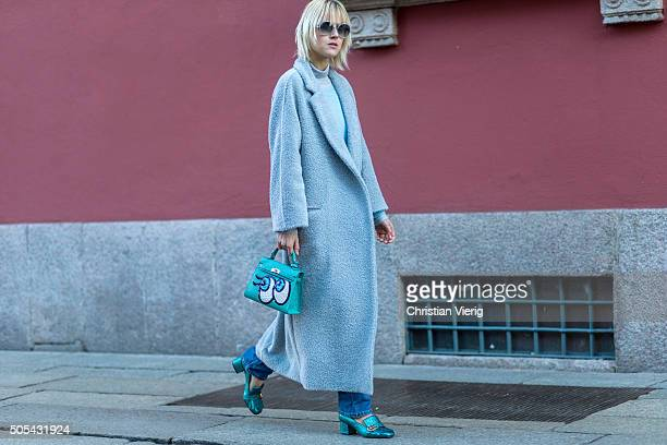 Linda Tol outside Missoni during Milan Men's Fashion Week Fall/Winter 2016/17 on January 17 in Milan Italy