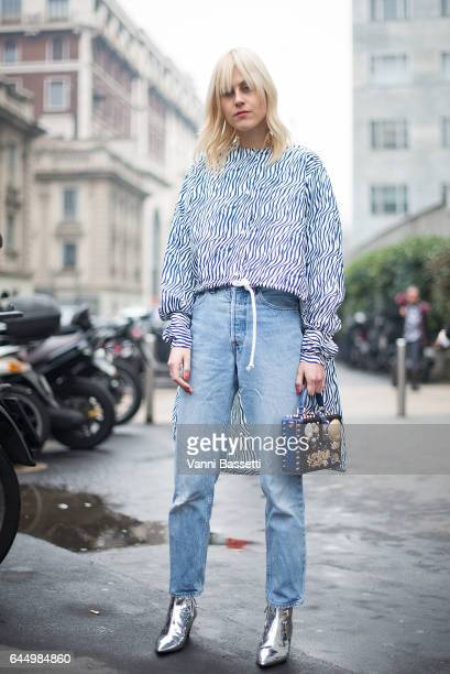 Linda Tol poses after the Sportmax show during Milan Fashion Week Fall/Winter 2017/18 on February 24 2017 in Milan Italy