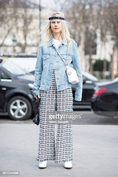Linda Tol poses wearing Chanel after the Chanel Show at the Grand Palais during Paris Fashion Week Womenswear FW 18/19 on March 6 2018 in Paris France
