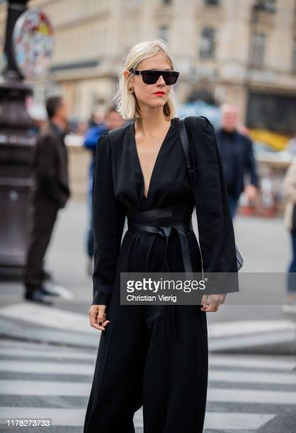 Linda Tol seen wearing black belted overall outside Stella McCartney during Paris Fashion Week Womenswear Spring Summer 2020 on September 30 2019 in...