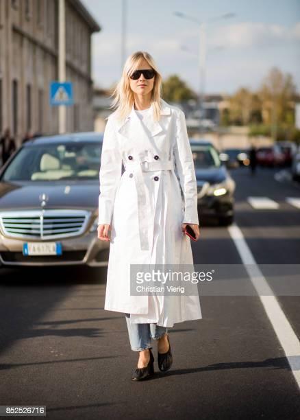 Linda Tol wearing a white coat is seen outside Missoni during Milan Fashion Week Spring/Summer 2018 on September 23 2017 in Milan Italy