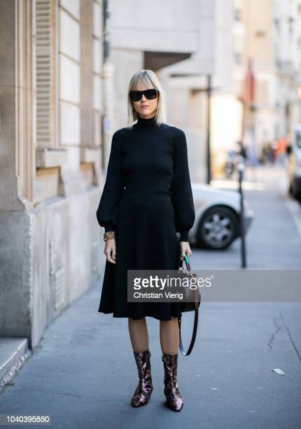 Linda Tol wearing black dress seen outside A.W.A.K.E. Awake during Paris Fashion Week Womenswear Spring/Summer 2019 on September 25, 2018 in Paris,...