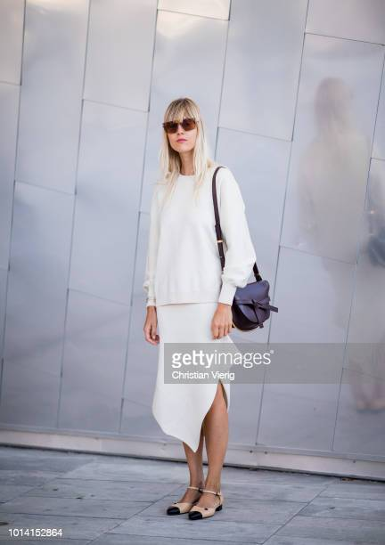 Linda Tol wearing Loewe bag is seen outside Designers Remix during the Copenhagen Fashion Week Spring/Summer 2019 on August 9 2018 in Copenhagen...
