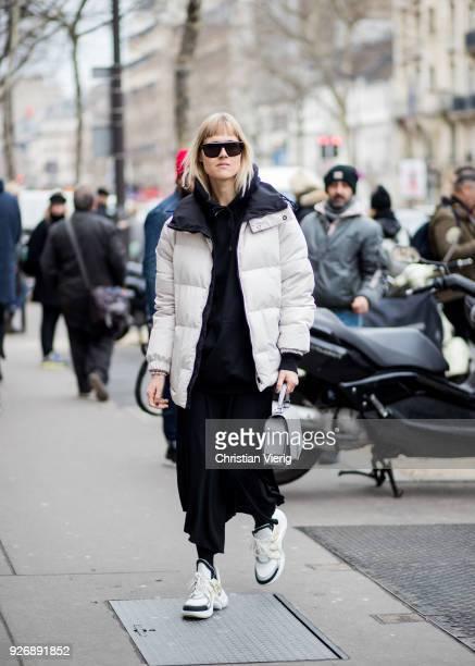 Linda Tol wearing Louis Vuitton sneakers is seen outside Altuzarra during Paris Fashion Week Womenswear Fall/Winter 2018/2019 on March 3 2018 in...