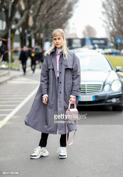 Linda Tol wearing Louis Vuitton sneakers is seen outside Armani during Milan Fashion Week Fall/Winter 2018/19 on February 25 2018 in Milan Italy