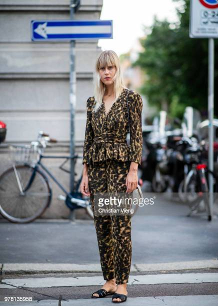 Linda Tol wearing suit with leopard print is seen outside Stella McCartney during Milan Men's Fashion Week Spring/Summer 2019 on June 18 2018 in...