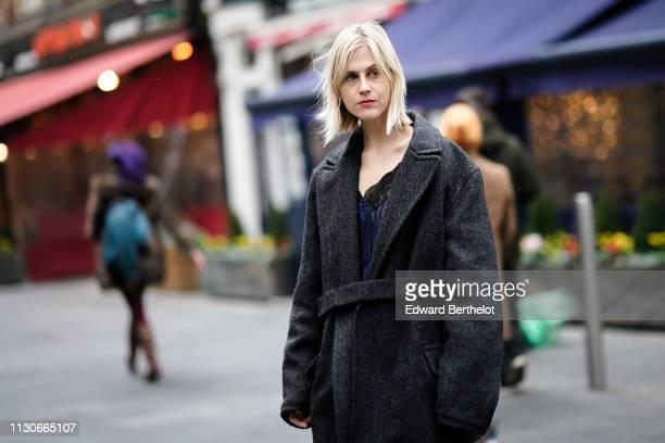Linda Tol wears a black jacket during London Fashion Week February 2019 on February 18 2019 in London England