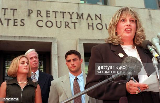 Linda Tripp speaks to the press in front of the Federal Courthouse 29 July in Washington DC after concluding her testimony before the federal grand...