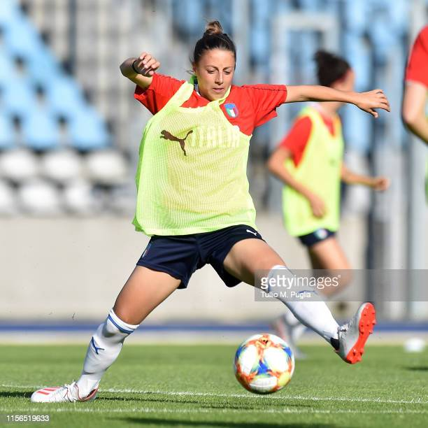 Linda Tucceri Cimini of Italy Women in action during a training session at Stadium Lille Metropole on June 17, 2019 in in Villeneuve d'Ascq near...