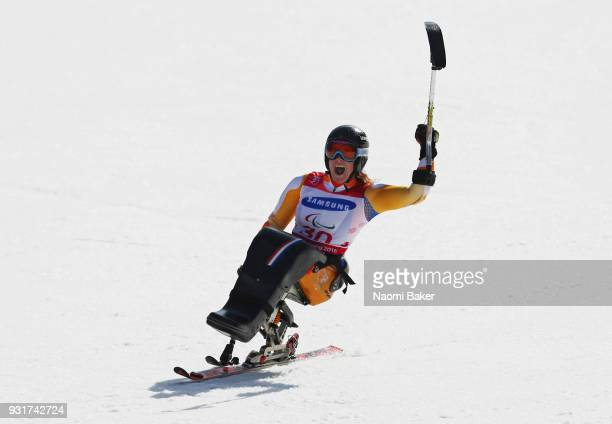 Linda van Impelen of Netherlands celebrates winning the Silver medal in the Women's Giant Slalom Sitting on day five of the PyeongChang 2018...