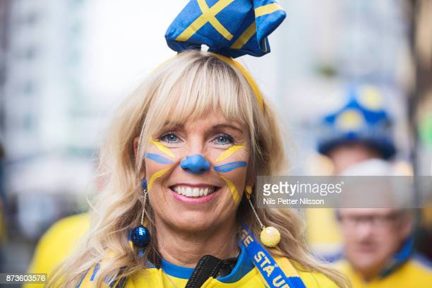 Linda Viklund a supporter of Sweden poses for a portrait at Corso Como ahead of the FIFA 2018 World Cup Qualifier PlayOff Second Leg between Italy...