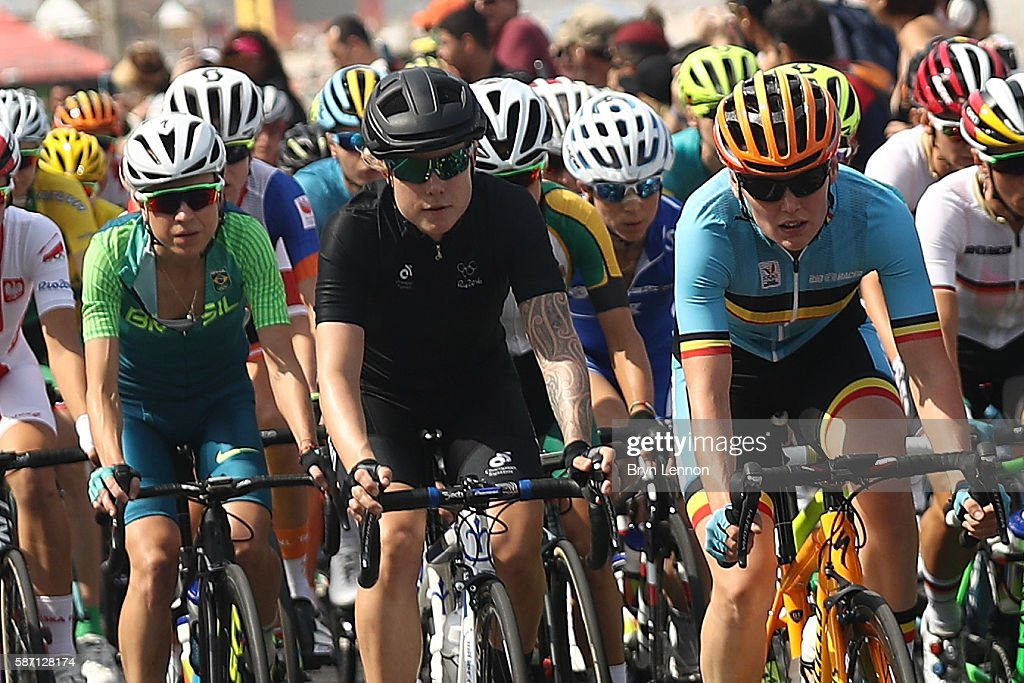 Linda Villumsen of New Zealand rides in the peloton during the Women's Road Race on Day 2 of the Rio 2016 Olympic Games at Fort Copacabana on August 7, 2016 in Rio de Janeiro, Brazil.