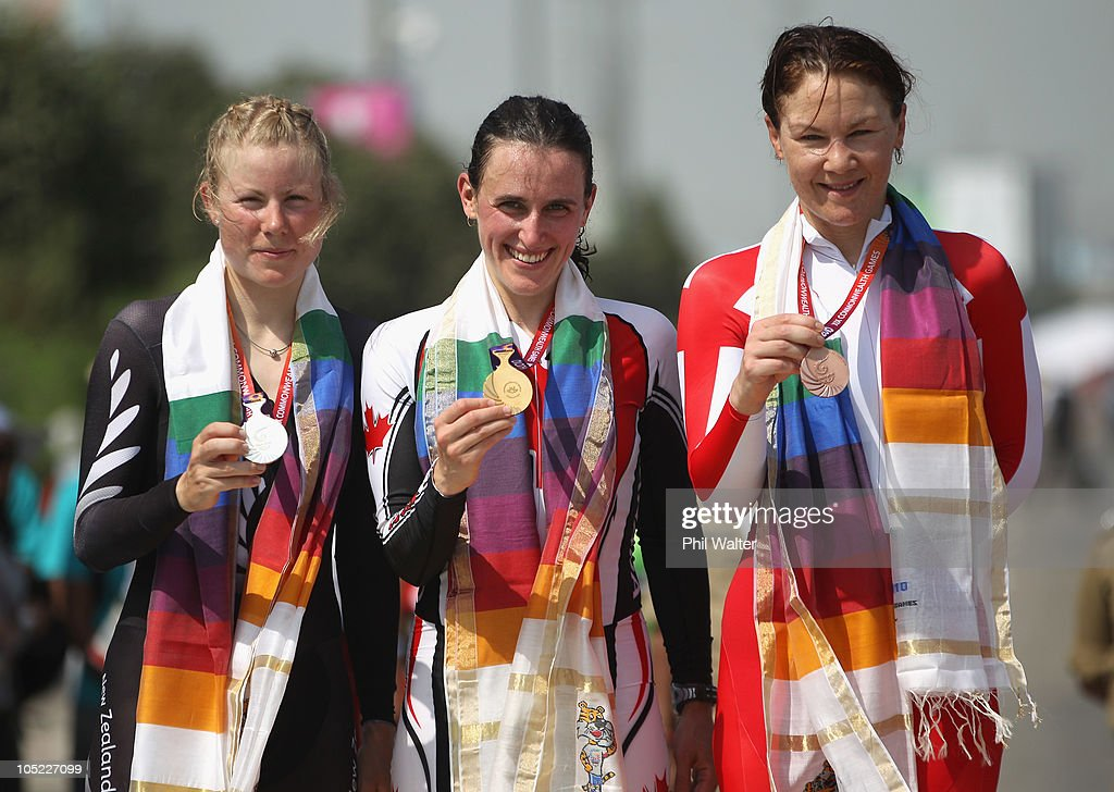 Linda Villumsen of New Zealand, Tara Whitten of Canada and Julia Shaw of England pose with their medals following the Womens Individual Time Trial during day ten of the Delhi 2010 Commonwealth Games on October 13, 2010 in Delhi, India.