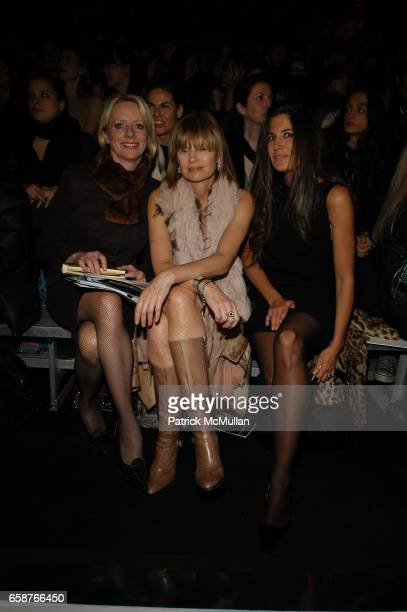 Linda Wells Anne McNally and Elizabeth Saltzman attend Marc Jacobs Fall 2004 Collection Show at The New York State Armory on February 9 2004 in New...