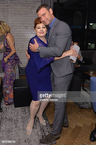 Linda Wepner and actor Liev Schreiber at The Bleeder TIFF party hosted by GREY GOOSE Vodka at Storys Building on September 10 2016 in Toronto Canada